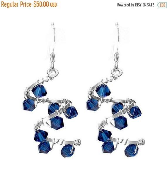 MARCH SALE Helix Nebula Earrings - 37mm length - double spiral galaxy - sapphire blue crystal - sterling silver earrings