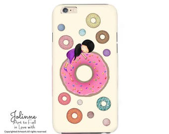 Doughnuts Phone Case Cover,Iphone Case,Samsung Kids Case,Donuts Picture for Iphone Cover Case,Protective Tough Case Girls Birthday Gift Art