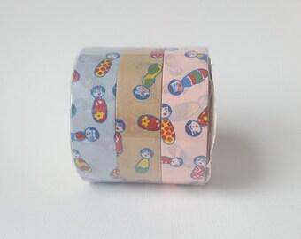 Kokeshi Doll Set of 3 Washi Paper Masking Tape
