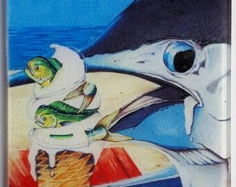 Flavors of Summer glass cutting board Mahi marlin sportfishing gift serving tray