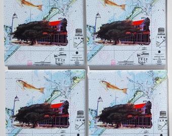 Ocracoke NOAA Chart Sandstone Coaster set nautical gift box included Outer Banks