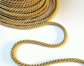 Twisted golden beige silk cord, 5mm, golden beige  satin rope, 2 meters