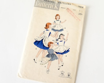 Vintage 1950s Girls Size 2 Dress and Pinafore Apron Butterick Sewing Pattern 7914 Complete / breast 21 waist 20