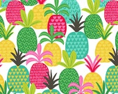 Tutti Frutti Tropical Fruit Pineapple Fields on White Citrus Squeeze Fabric by Maude Asbury
