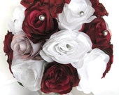 """Reserved listing 3 piece package Wedding bouquets Bridal bouquet Wedding Silk flowers BURGUNDY Wine GRAY SILVER  """"RosesandDreams"""""""