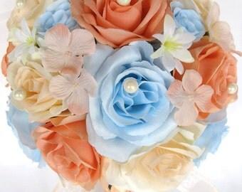 "Wedding Bouquets Bridal Silk flowers 17 Piece Package Bridal Party Bouquets PEACH Light BLUE BLUSH Wedding decoration Bride ""RosesandDreams"""