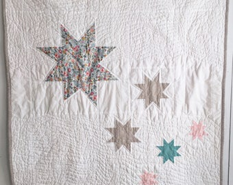 Modern Baby Quilt : Liberty of London and Linen;  Crib Quilt, Patchwork Quilt, Modern Nursery, Lap Quilt, Star Quilt