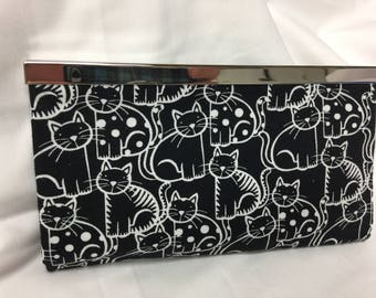 Cats Black and White Fabric Wallet Fashion Wallet Credit Card Holder Cats Diva Wallet