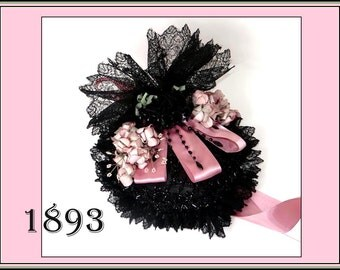 Victorian Jet Theater Hat 1893 Black Lace Wings, Pink Apple Blossom Flowers and Ribbons Antique Vintage Millinery Bonnet