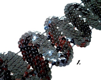 Vintage Sequin Trims, 4 Widths, Black Sequins, Hard to Find Examples, Specialty Sewing, Textiles, Costumes, Design, Zigzag Pattern