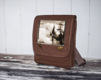 Come Fly With Me - Vintage Photograph - Java Brown Field Bag - Messenger Bag - Canvas Bag