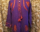 SALE Authentic seventies two piece hippy ensemble with mirror accents woven in