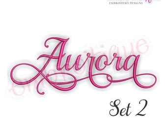 Aurora Set 2 Monogram Font  - BX files included- Instant Download Machine embroidery design