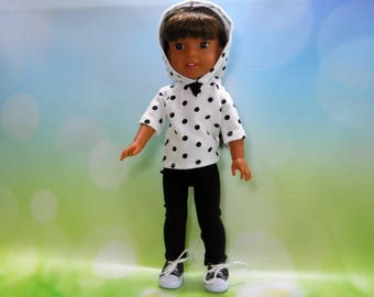 Designed for 14.5 inch dolls such as Wellie Wishers, White Dot Hoodie Top and Black Leggings 05-2040
