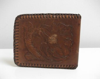 Tooled 70's Leather Wallet, Desert Floral Motif