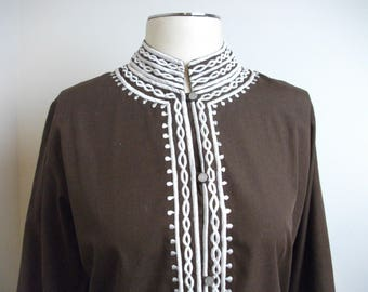 Embroidered Brown 70s Philippine Ethnic Tunic, Size M