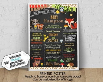 "PRINTED Baby Shower Poster, 11"" x 14"", 16"" x 20"", 18"" x 24"", Baby Woodlands Forest Animals, Chalkboard Look, Personalized, Ready to Frame"