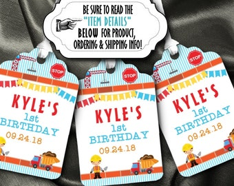 12 Favor Tags, Gift Tag, Construction Theme, Builder Worker, Dump Truck, Crane. Stop Sign, Birthday Party, Baby Shower