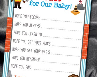 10  Wishes for Baby Cards, Shower Games, Activity Game Cards, Construction Theme, Building Crane, Worker, Dump Truck, Tools, Baby Shower