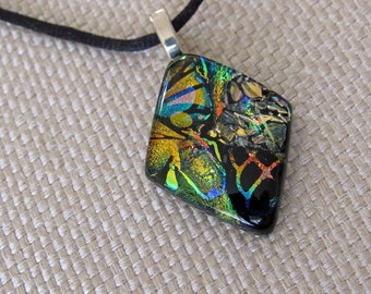 Dichroic Fused Glass Pendant/Necklace - Dainty Delight Pendant - Dichroic Glass Jewelry - Fused Necklace, - Colorful Jewelry - 148-16