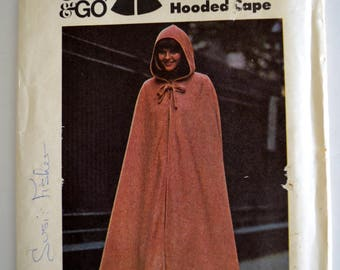 Butterick 3932 The Hooded Cape Cloak Size Large UNCUT