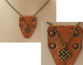 Gold Celtic Knot & Brown Leather Pendant Necklace Jewelry Handmade NEW Fashion Accessories