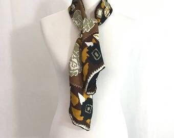 Vintage Vera Neumann Brown Silk Blend Scarf