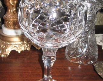 Cut Crystal Candle Bowl/Stemmed Candle Holder/Crystal Footed Bowl