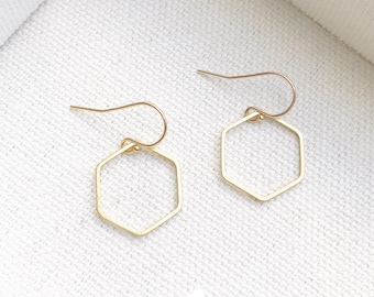 NEW - Dainty Hexagon Earrings - Simple Gold Hexagon Shaped Earrings - Perfect Gift Minimalist - Gift For Friend- The Lovely Raindrop