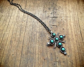 Vintage snake eye turquoise cross pendant necklace Old Pawn cross necklace Zuni jewelry