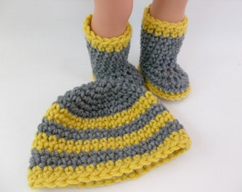 18 inch Boy Doll Clothes  Crochet Boots and Hat Gray and Mustard to fit American Girl Boy Doll