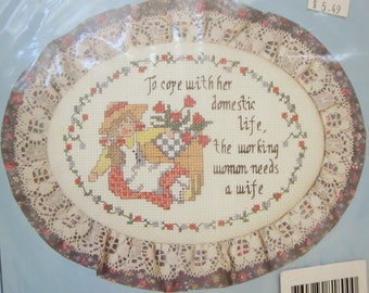 The Working Woman, Counted Cross Stitch Kit, Dimensions Stitchables, 1989 NIP