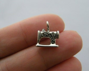 10 Sewing machine charms antique silver tone SN32