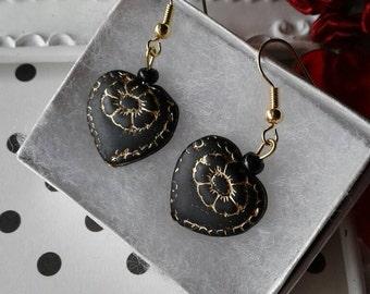 Heart Earrings,Black