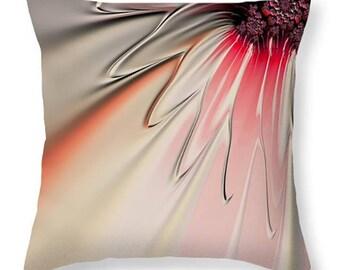 DECORATIVE PILLOW floral art design, fractal art home decor, pink orange cream home decor, floral housewares