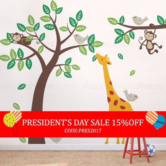 President's Day Sale - Wall Decal Kid Children wall decals - Monkey Giraffe and Birds Tree and Branch Set