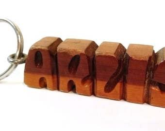 Wood key chain handmade carved name ARLIS key ring