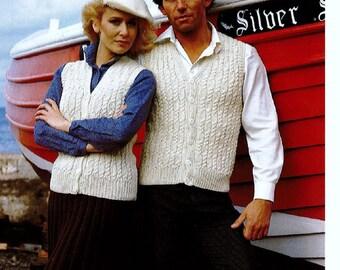 Knitting Pattern - Aran Worsted Waistcoats Men and Women's - PDF download