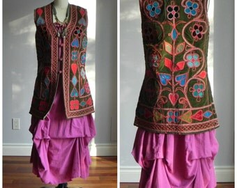 1960's, velvet vest, made in Afghanistan, women's size medium