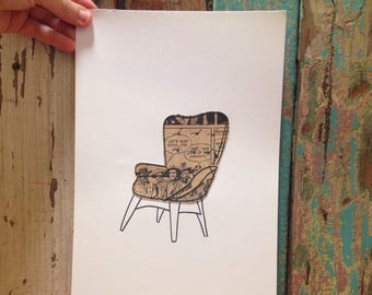 Grant Featherstone illustration - mixed media art work featuring vintage newspaper and hand drawn line work