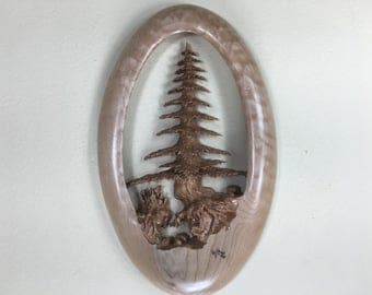 Tree wood carving wall sculpture art special best gift ever Ooak