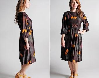 Vintage Floral Day Dress- Black Purple Orange Full Long Dolman Sleeve Midi Casual Dress Soft Flowers - Size Medium or Large