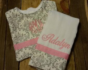 Personalized monogram girl burp cloth and bib set/baby shower gift