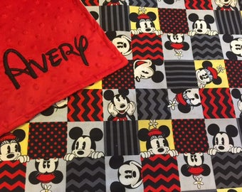 Disney Mickey Minnie Personalized Embroidered Minky Backed Baby Blanket -Choose size and font!