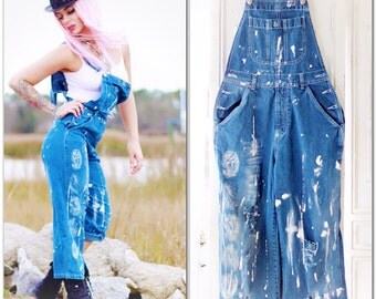 Xlarge Boho Adult bibs, Bohemian festival bibs, Painted bib overall jeans, Romantic Parisian chic artisan painted jeans, True rebel clothing