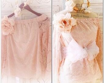 M French Paris flea market off the shoulder, Romantic ruffle boho tunic, peach lace top shabby cottage chic, True rebel clothing