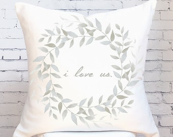 Cotton Anniversary Gift Wedding Gift I Love Us Pillow Cover