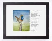 """Watercolor painting illustrating Dickinson poem """"Hope is the thing with feathers"""" as print framed or unframed"""