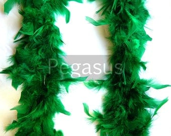 Emerald Green turkey feather boa (1 or 2 yard pieces) hats, feather fascinator, feather dresses, children dress up, centerpiece,home decor