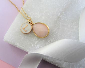 Blush Pink Gemstone and Initial Necklace,Bridesmaids Gifts,Monogram Necklace, Personalized Jewelry, Mothers Day Gift, Gift for Mom Mum